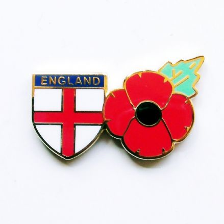 Poppy Lapel Badge with Cross of St George Shield